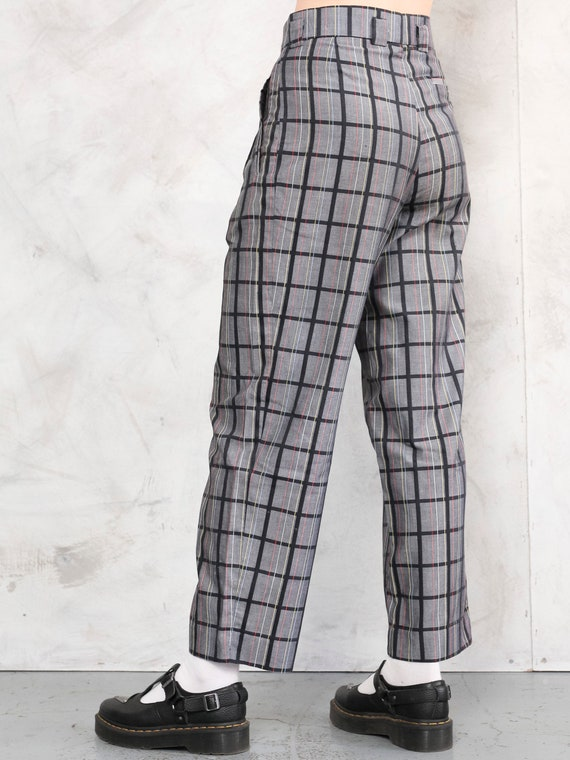 Relaxed Women Pants plaid vintage 80s checkered p… - image 5