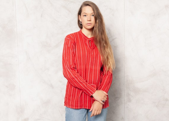 Vintage 80s Red Striped Shirt . Women's Boho Tunic