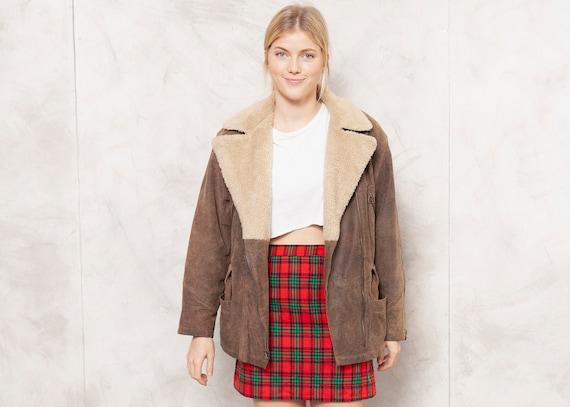 Vintage Oversized Leather Jacket 80s Brown Suede L