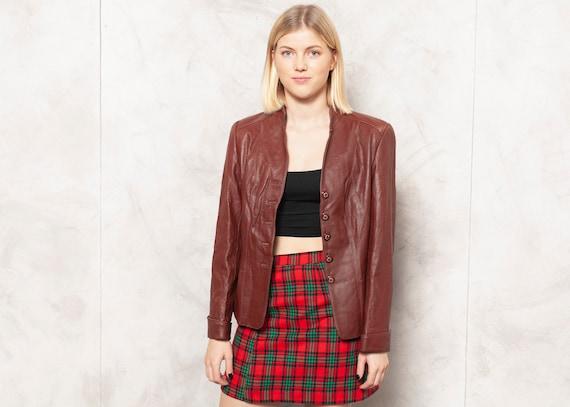 Bordeaux Leather Jacket Vintage 70s Nappa Leather