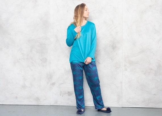 Vintage 90s Blue Pajama Set . Vintage PJs Women Si