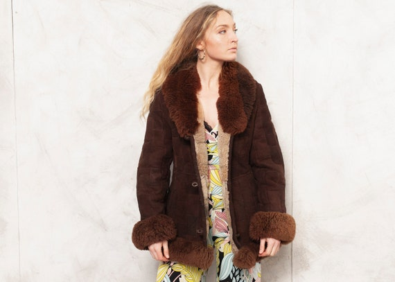 70s Patchwork Jacket Leather Jacket Brown Suede Ou