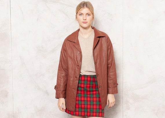 90s Leather Jacket 90s Vintage Brown Blazer Jacket