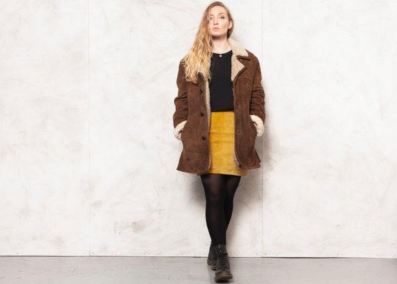 70s Sheepskin Jacket Vintage 70s Leather Brown Jac