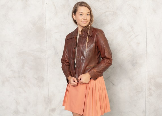 70s Brown Leather Jacket Blazer Jacket Button Up J