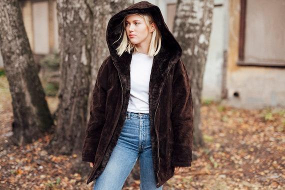 90s Suede Reversible Jacket Hooded Jacket Brown Au