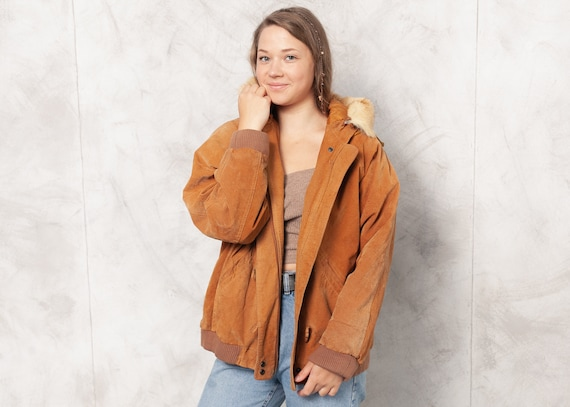 Vintage 90s Brown Suede Bomber Jacket Women Hooded