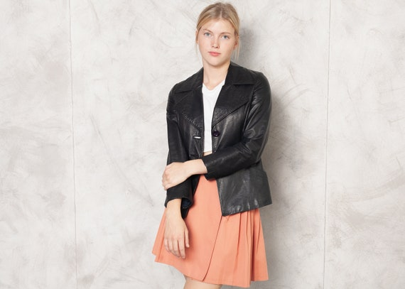 70s Black Leather Jacket Vintage 70s Leather Blaze
