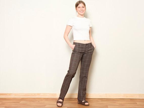 Plaid Flare Pants women vintage 80s checkered pan… - image 3