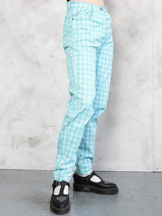 Plaid Summer Pants 80s checkered nerd pants light… - image 3