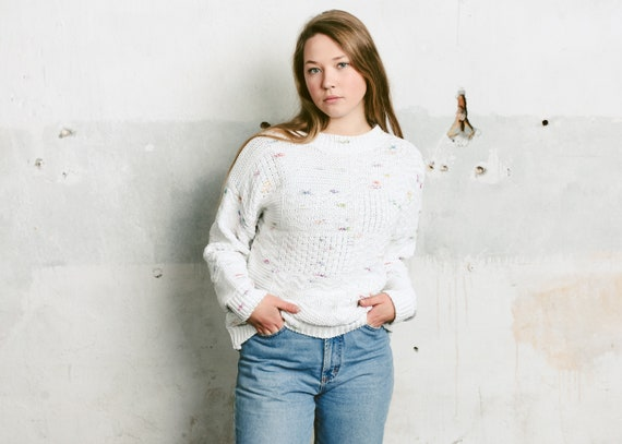 size Large 90s White Knitted Sweater Minimalist Vintage Sweater White Pullover Ladies Casual Clothing Knitwear Hand Knit Sweater