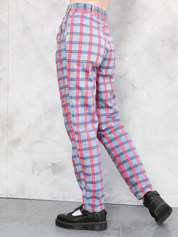 Plaid Cotton Pants vintage 80s checkered artist p… - image 5