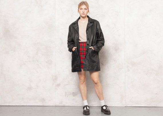 Longline Leather Jacket 80s Blazer Jacket Minimali