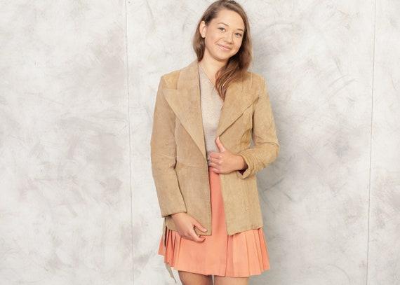 70s Women Beige Suede Jacket 1970s Leather Jacket