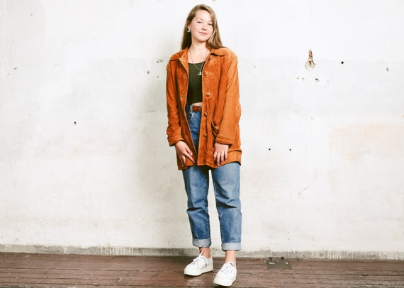 Oversized Denim Jacket In Burnt Orange