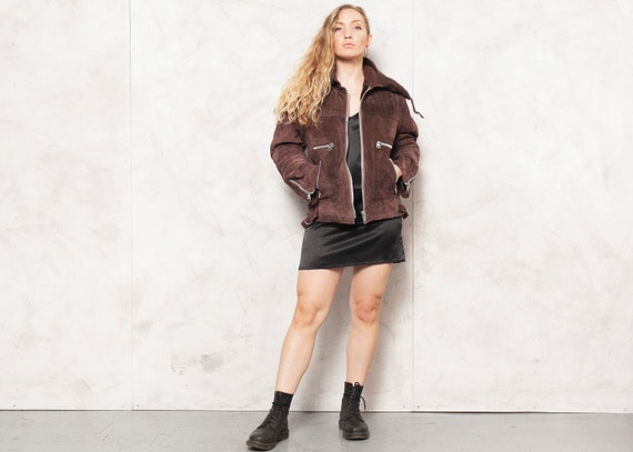 Genuine Leather Jacket 70s Suede Brown Outwear She