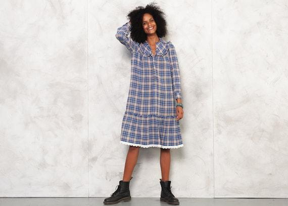 70s Plaid Shirt Dress Checkered Dress Prairie Dres