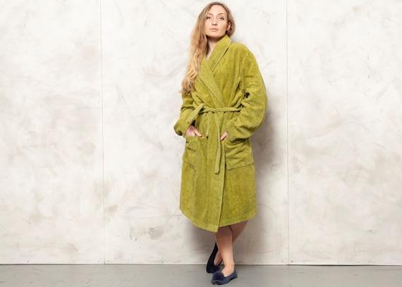 Green Morning Robe Vintage 90s Terry Cloth Robe Ba
