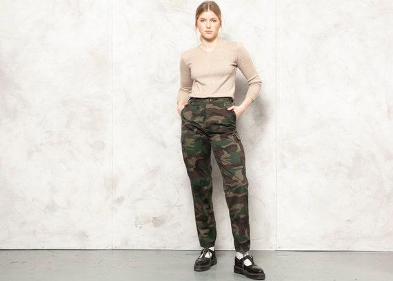 Camo Green Pants 90s Army Green Pants High Waisted