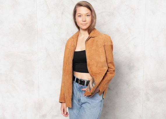 Vintage 80s Brown Suede Jacket Women Oversized Bro