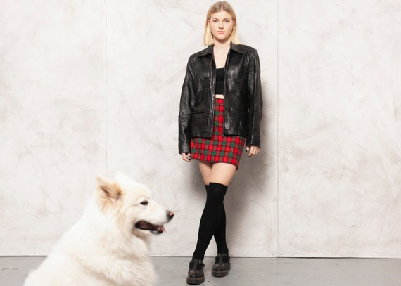 70s Leather Blazer Jacket Vintage Black Leather Lo