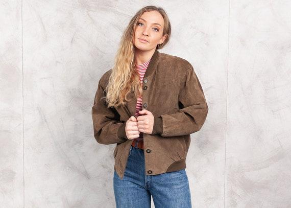 Vintage 80s Brown Suede Bomber Jacket . Vintage Le