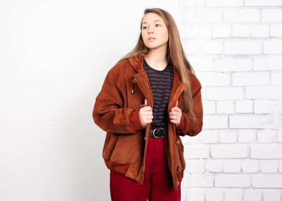 90s Padded Suede Bomber Jacket . Women Brown Leath