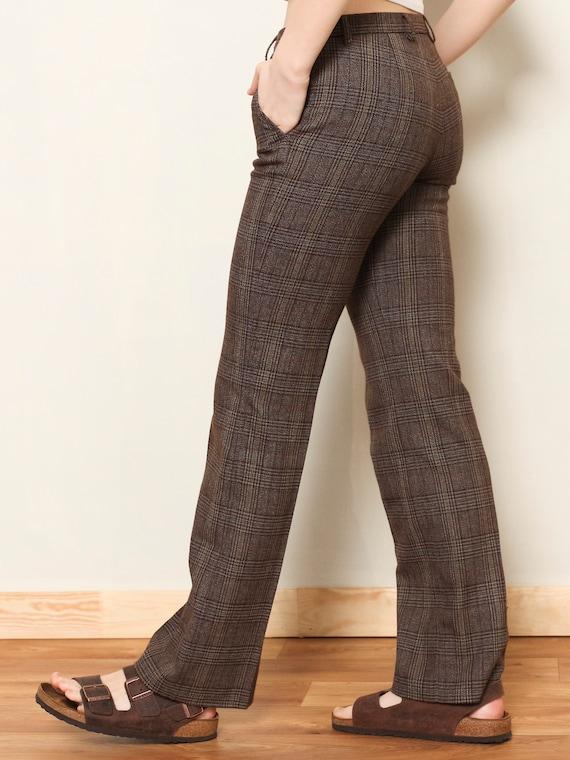 Plaid Flare Pants women vintage 80s checkered pan… - image 6