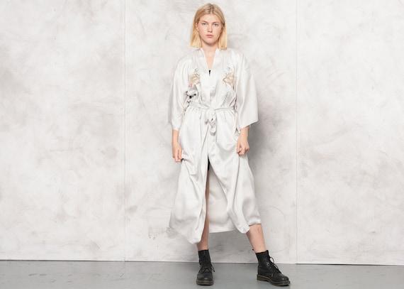 Vintage 80s Off-White Silk Chinese Robe . Womens K