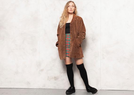 Suede Women Blazer Vintage 80s Brown Suede Jacket