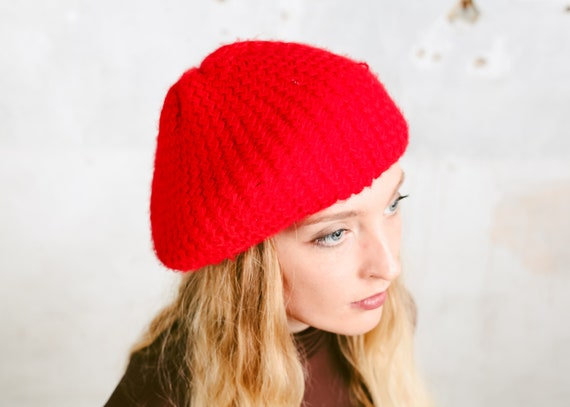 Made in France Acrylic Beret Hat Parisian Fashion Vintage French Beret Courtelle Red and Navy Blue