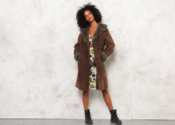 Vintage 70s Penny Lane Afghan Coat Brown Suede Lea