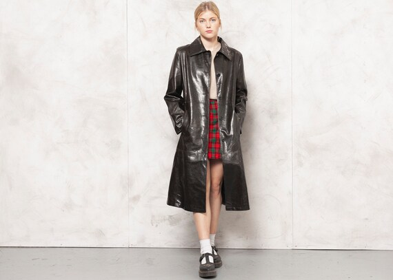 90s Faux Leather Coat Brown Blazer Jacket Fake Lea