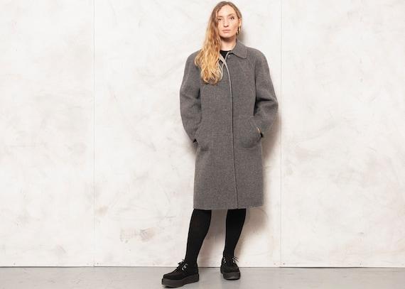 Grey Wool Coat Vintage 80s Casual Coat Women Retro