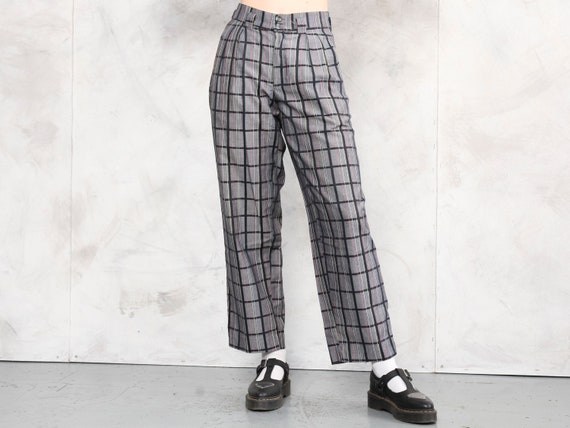 Relaxed Women Pants plaid vintage 80s checkered p… - image 1