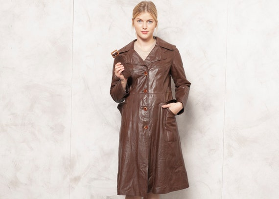 Insulated Leather Coat 70s Brown Leather Outerwear