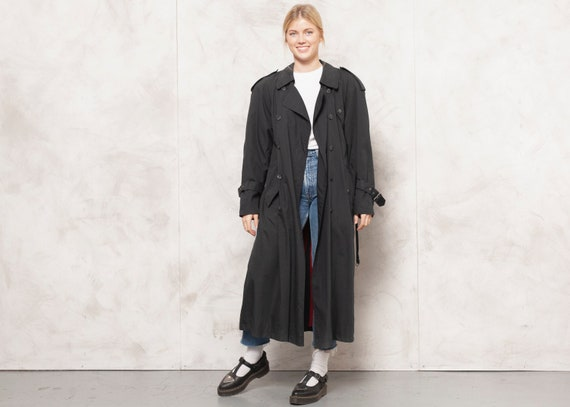 Black Trench Coat 80s Vintage Women Duster Coat Bl