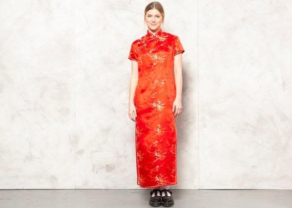 Oriental Chinese Dress Vintage 90s Women Maxi Dres
