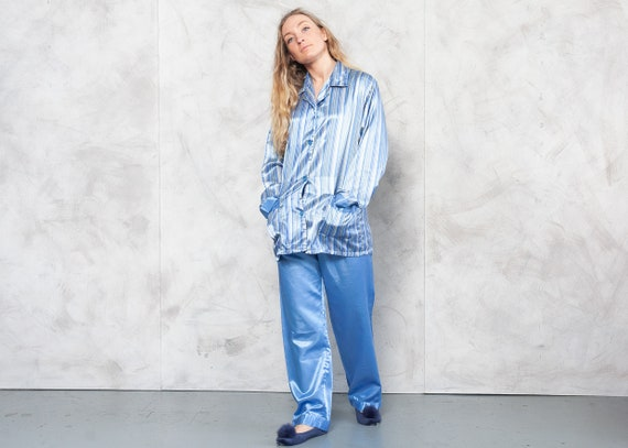 Vintage 90s Blue Striped Pajama Set . Vintage Paja