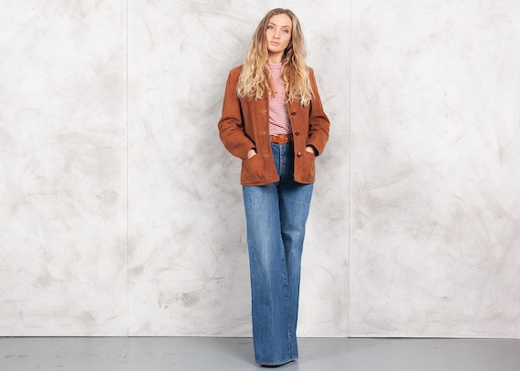 Vintage 70s Suede Leather Jacket 70s Brown Suede W