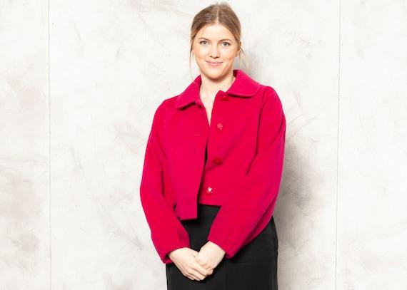 Women Vintage Blazer hot pink wool blazer retro 60