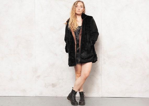 90s Black Jacket Fur Trim Jacket Retro Suede Jacke