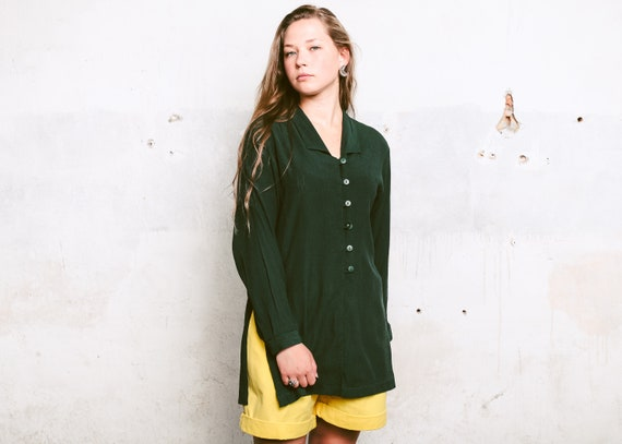 Forest Green 80s Blouse . Women's Minimalist Blous