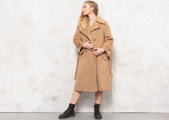70s Wool Coat Brown Coat Oversized Camel Coat Mini