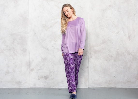 Vintage 90s Pajama Set Purple . Vintage PJs Women