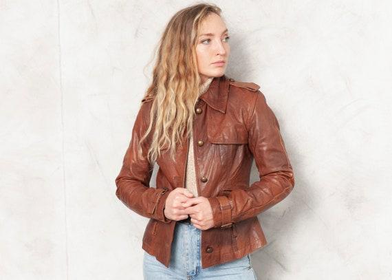 Brown Leather Jacket 70s Blazer Jacket Minimalist