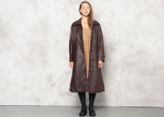 70s Brown Leather Coat Vintage 1970s Longline Jack