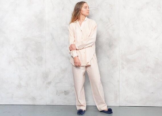 Vintage 90s Pastel Peach Pajama Set . Vintage PJs