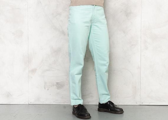 80s Jeans Vintage Mint Green Denim Pants Tapered J