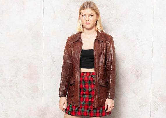 Blazer Leather Jacket Vintage 70s Women Leather Bl